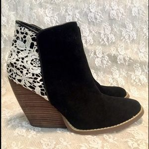 Very Volatile Suede & Lace Booties 8